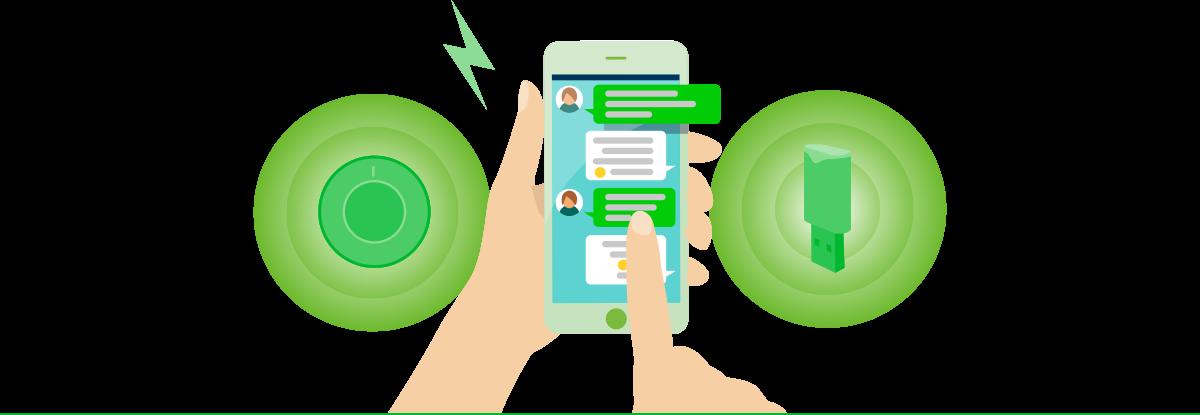 LINE Beacon(イメージ):ビーコン(2タイプ)からLINEアプリにPUSH通知